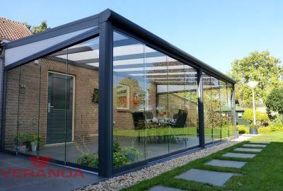 Fiano Glazen schuifwand 606 cm op 3 palen - Verandakopen.nl