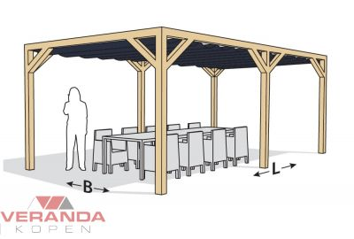 Nesling Douglas Pergola Stand - Alone  Antraciet 6 paal