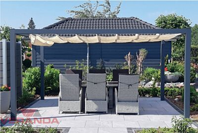 Gardendreams Pergola met Coolfit® Harmonicadoek - Verandakopen.nl